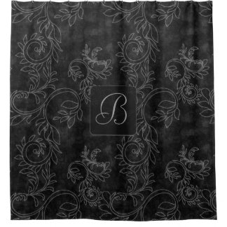 Cortina Para Box Monograma preto e cinzento do damasco
