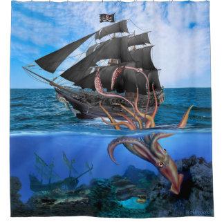 Cortina Para Box Navio de pirata contra o calamar gigante