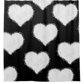 Cortina Para Box Nuvens preto e branco do coração
