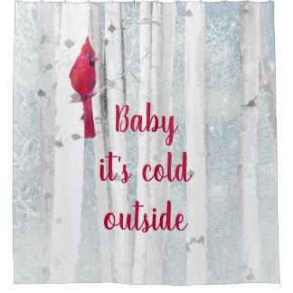 Cortina Para Box O pássaro cardinal vermelho em árvores nevado