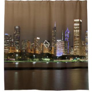 Cortina Para Box Opinião bonita da cidade do lado do rio na noite