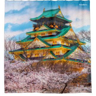 Cortina Para Box Pagode e Sakura japoneses do jardim em Osaka,