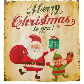 Cortina Para Box Papai noel e duende de Daning do Feliz Natal do