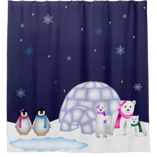 Cortina Para Box Pinguins e cortina de chá do Natal dos ursos