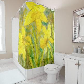 Cortina Para Box Pintura da aguarela, arte amarela das flores,