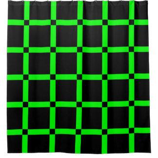 Cortina Para Box Preto & teste padrão de grade verde de néon