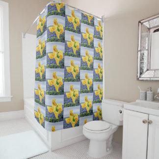 Cortina Para Box Rosas amarelos na forma de Texas em Bluebonnets