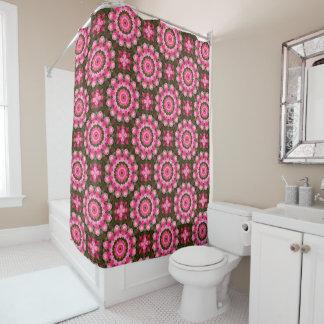 Cortina Para Box Rosas cor-de-rosa, mandala-estilo floral