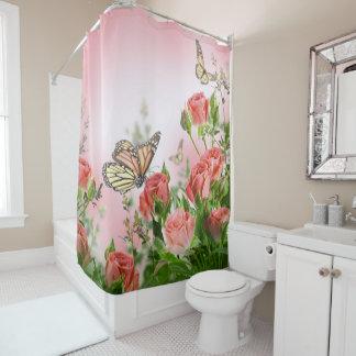 Cortina Para Box Rosas e borboletas cor-de-rosa bonitos
