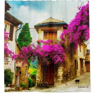 Cortina Para Box Rua ensolarada velha bonita com árvores roxas