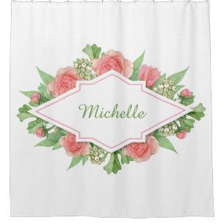 Cortina Para Box Seu nome em uma cortina de chá do quadro da flor