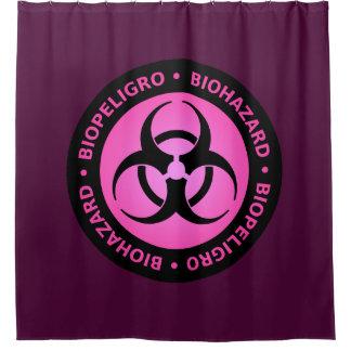 Cortina Para Box Sinal de aviso cor-de-rosa do Biohazard