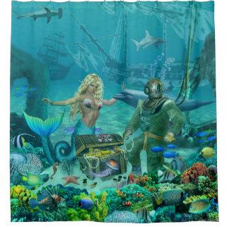 Cortina Para Box Tesouro do recife de corais da sereia