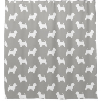 Cortina Para Box Teste padrão das silhuetas de Terrier branco de