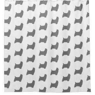 Cortina Para Box Teste padrão das silhuetas de Terrier de seda