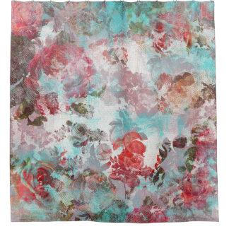 Cortina Para Box Teste padrão floral cor-de-rosa chique romântico