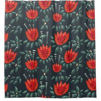 Cortina Para Box Teste padrão floral escuro da tulipa vermelha