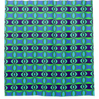 Cortina Para Box Teste padrão retro dos Ovals azuis e verdes