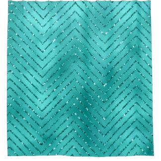 Cortina Para Box Tiffany Chevron de cristal metálico azul aquático