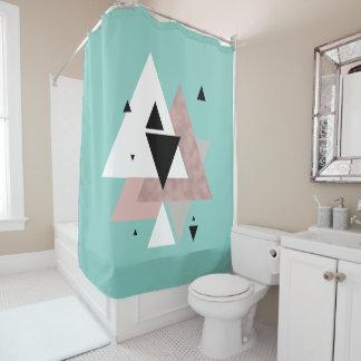 Cortina Para Box triângulos geométricos da hortelã cor-de-rosa