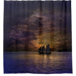 Cortina Para Box Veleiro no por do sol na cortina de chá do oceano