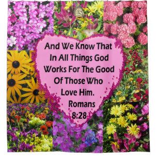 CORTINA PARA BOX VERSO FLORAL BONITO DA BÍBLIA DO 8:28 DOS ROMANOS