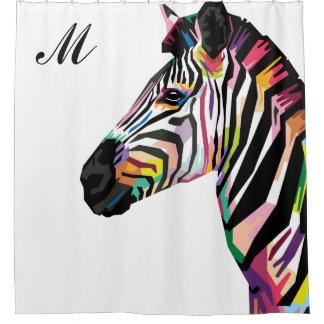Cortina Para Box Zebra colorida do pop art Monogrammed