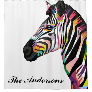 Cortina Para Box Zebra colorida personalizada do pop art