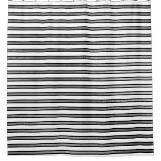 Cortina Para Chuveiro A prata branca preta elegante listra as linhas