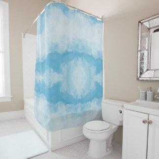 Cortina Para Chuveiro Abstrato branco azul da aguarela