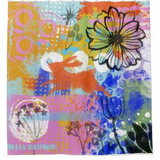 Cortina Para Chuveiro Abstrato da pintura do chique da flor do coelho de