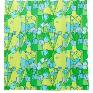 Cortina Para Chuveiro Abstrato, verde limão e amarelo modernos do meio