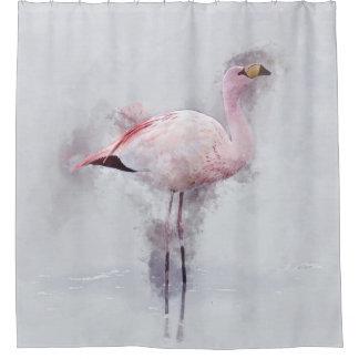Cortina Para Chuveiro Aguarela cor-de-rosa do flamingo