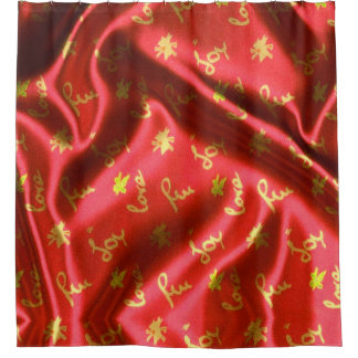 Cortina Para Chuveiro Amor, divertimento e Alegria-Seda, vermelhos