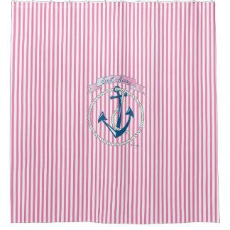 Cortina Para Chuveiro Âncora náutica, corda, navigação, listras,