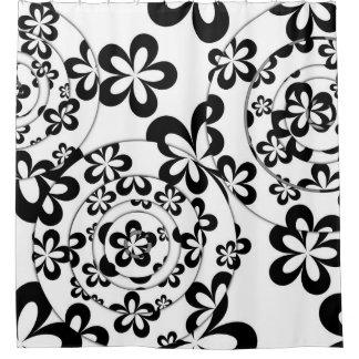 Cortina Para Chuveiro Anéis e flores preto e branco