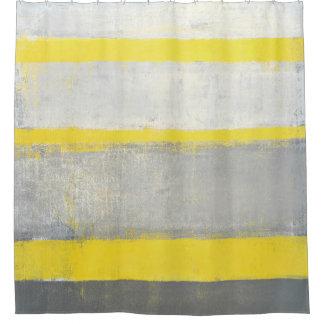 """Cortina Para Chuveiro Arte abstracta cinzenta e amarela """"sujeitada"""""""