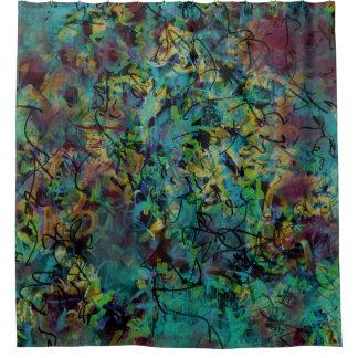 Cortina Para Chuveiro Arte abstracta Scribbled colorido