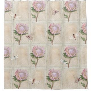 Cortina Para Chuveiro Arte cor-de-rosa da borboleta da libélula da flor