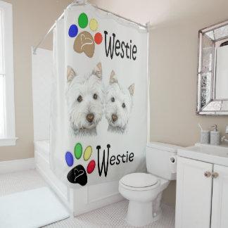 Cortina Para Chuveiro Arte do cão de Westie e cortina de chá das patas
