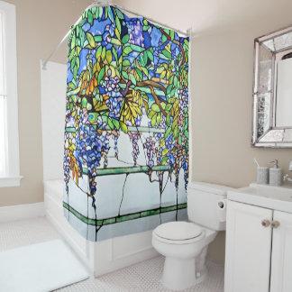 Cortina Para Chuveiro Arte floral das glicínias do vitral de Tiffany do