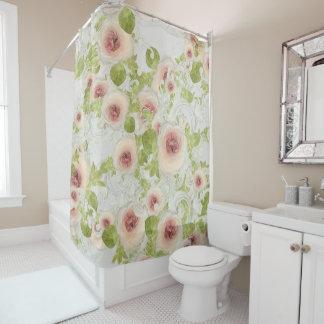 Cortina Para Chuveiro Arte floral Scrollwork moderno da flor da peônia