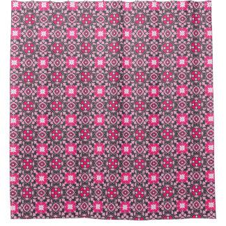 Cortina Para Chuveiro Azulejo marroquino floral, cor-de-rosa fúcsia &
