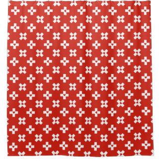Cortina Para Chuveiro Bandeira da suiça com teste padrão do coração