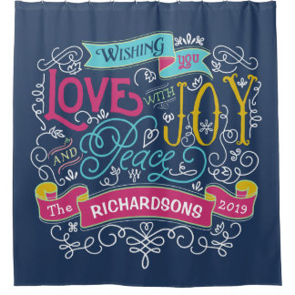 Cortina Para Chuveiro Bandeira do costume da paz da alegria do amor da