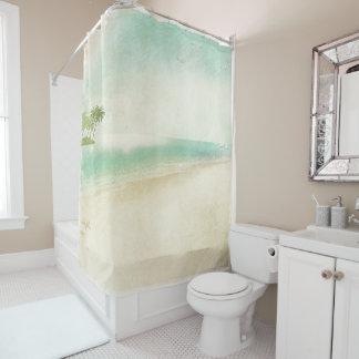 Cortina Para Chuveiro Banheiro calmo da casa da praia do vintage retro