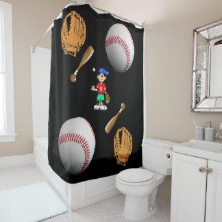 Cortina Para Chuveiro Basebol da cortina de chá
