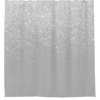 Cortina Para Chuveiro Bloco cinzento da cor do ombre do brilho da prata