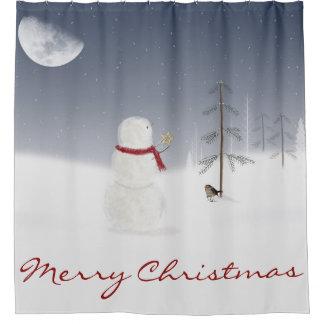 Cortina Para Chuveiro Boneco de neve do Natal com estrela e lua do ouro