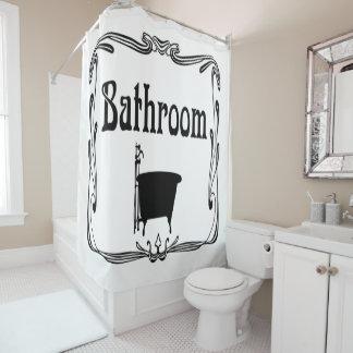 Cortina Para Chuveiro Branco do preto da cuba do banheiro do vintage da